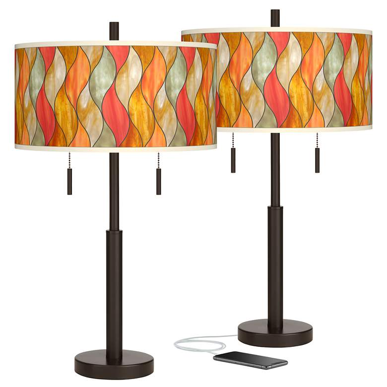 Flame Mosaic Robbie Bronze USB Table Lamps Set of 2
