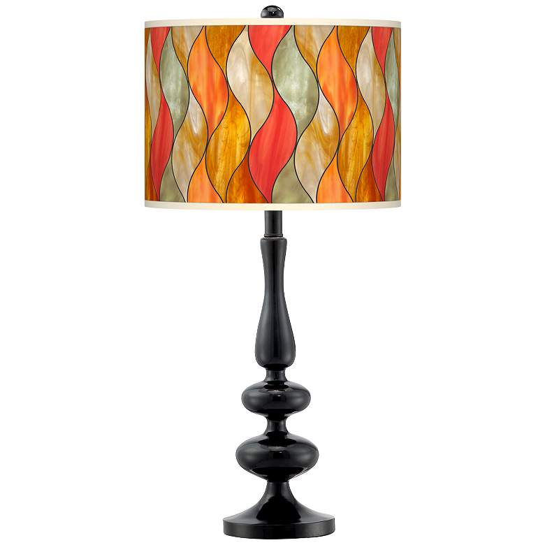 Flame Mosaic Giclee Paley Black Table Lamp