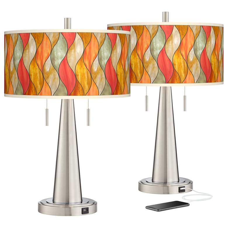 Flame Mosaic Vicki Brushed Nickel USB Table Lamps Set of 2