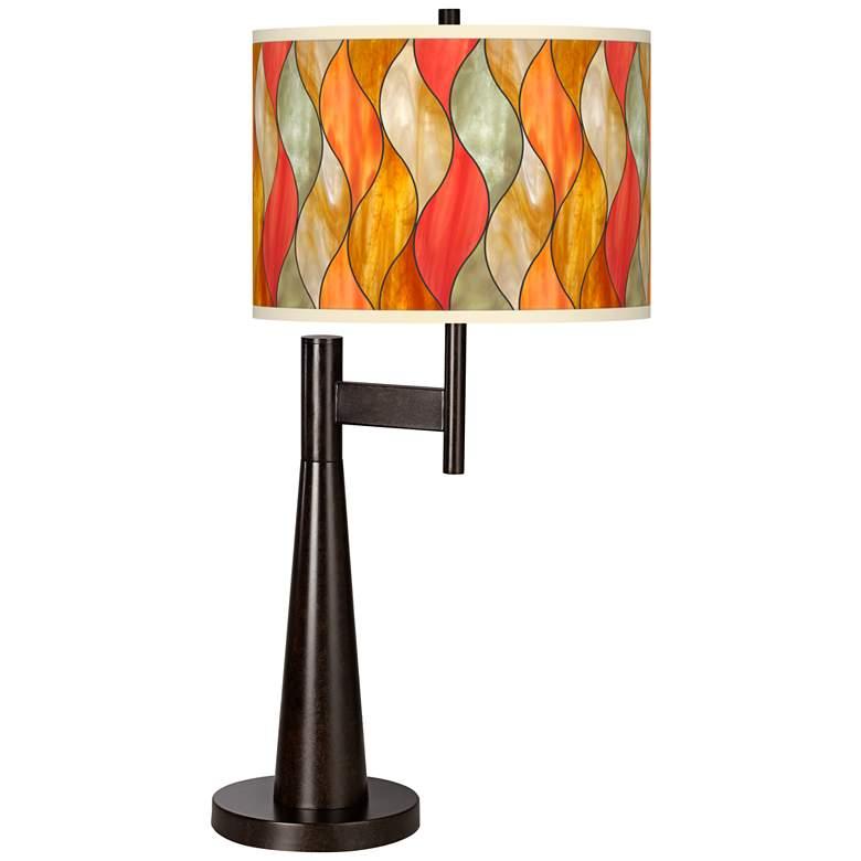 Flame Mosaic Giclee Novo Table Lamp