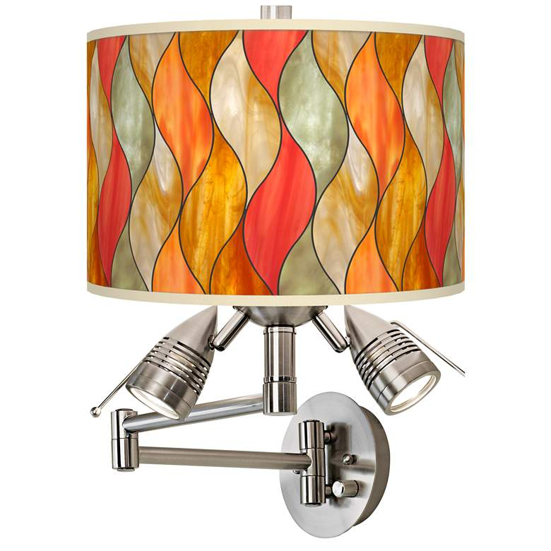 Flame Mosaic Giclee Plug-In Swing Arm Wall Lamp