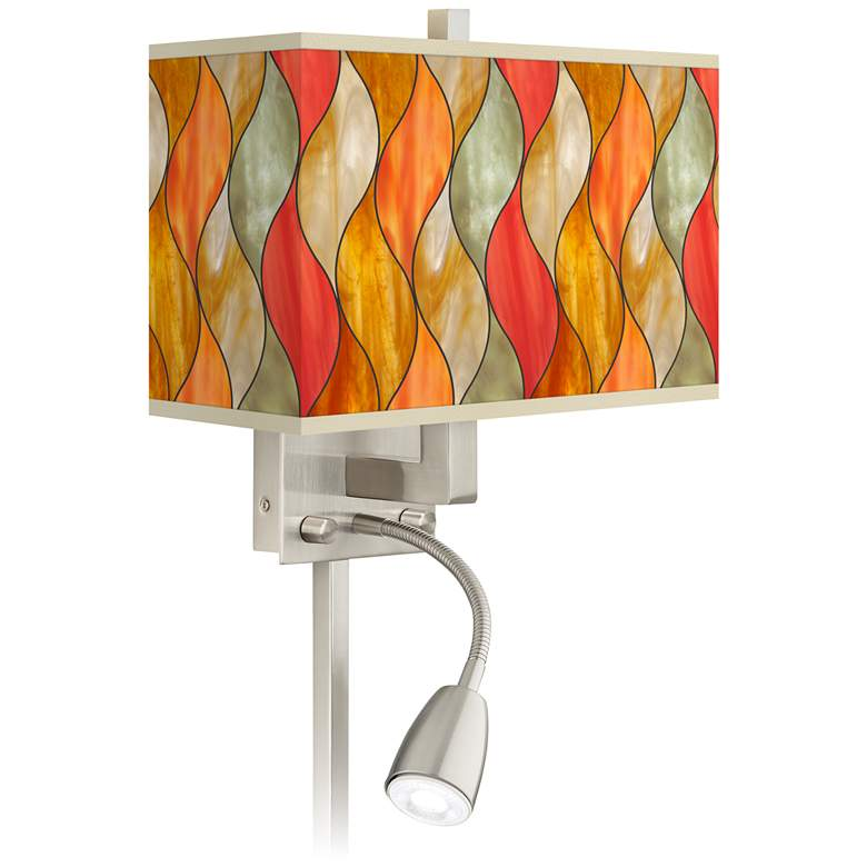 Flame Mosaic Giclee Glow LED Reading Light Plug-In Sconce