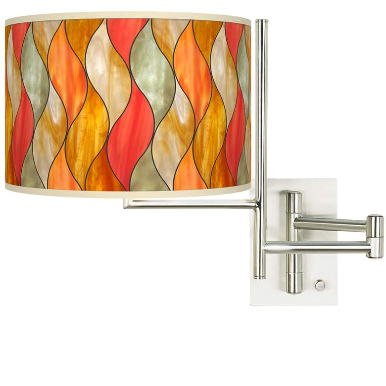 Tempo Flame Mosaic Plug-in Swing Arm Wall Lamp