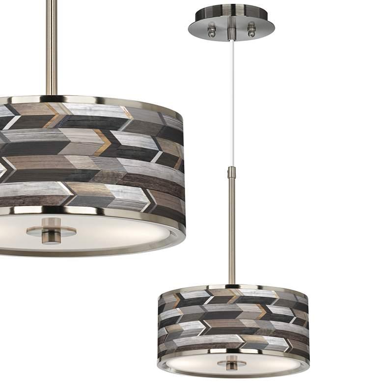 """Woodwork Arrows Giclee Glow 10 1/4"""" Wide Pendant Light"""