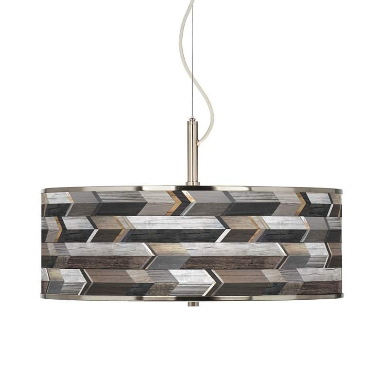 """Woodwork Arrows Giclee Glow 20"""" Wide Pendant Light"""
