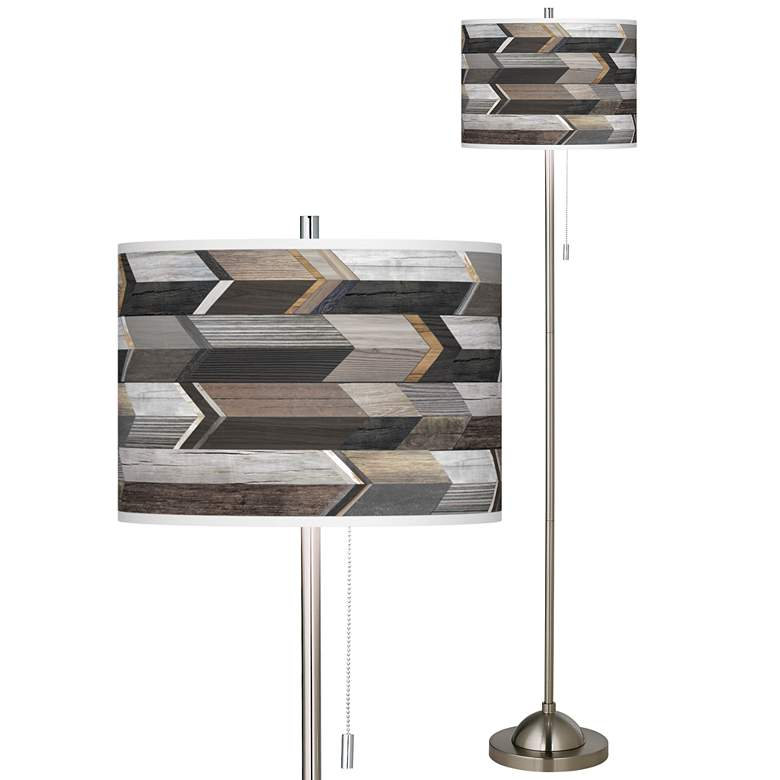 Woodwork Arrows Brushed Nickel Pull Chain Floor Lamp