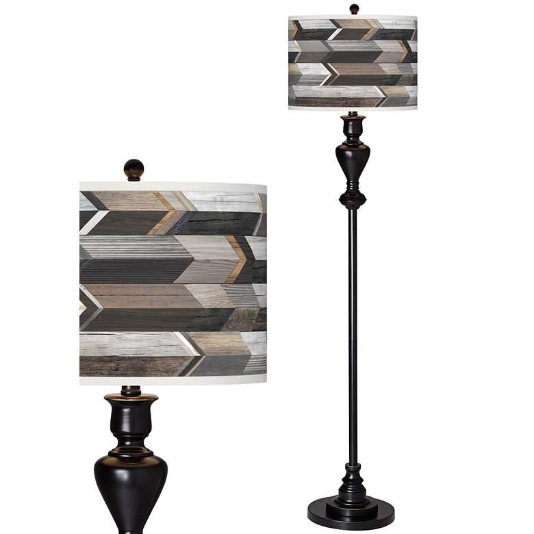 Woodwork Arrows Giclee Glow Black Bronze Floor Lamp