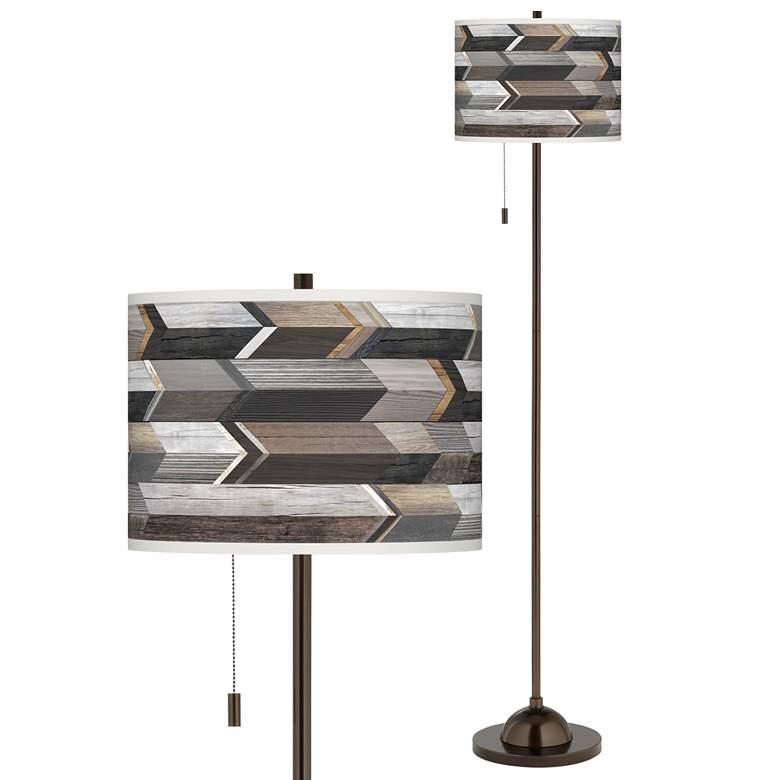 Woodwork Arrows Giclee Glow Bronze Club Floor Lamp