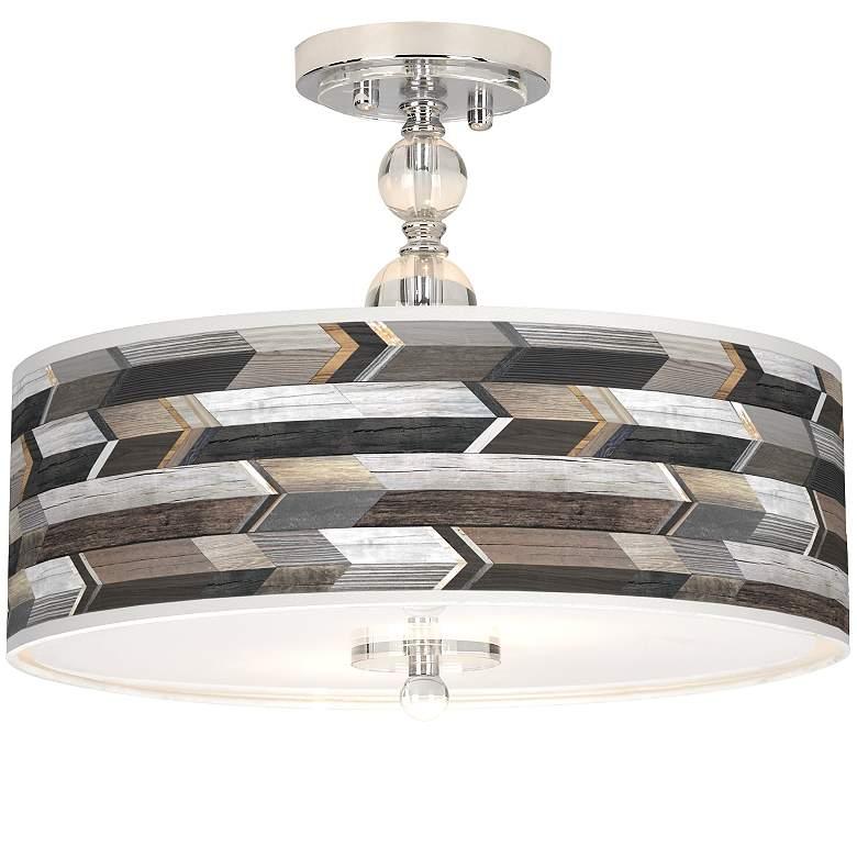 "Woodwork Arrows Giclee 16"" Wide Semi-Flush Ceiling Light"