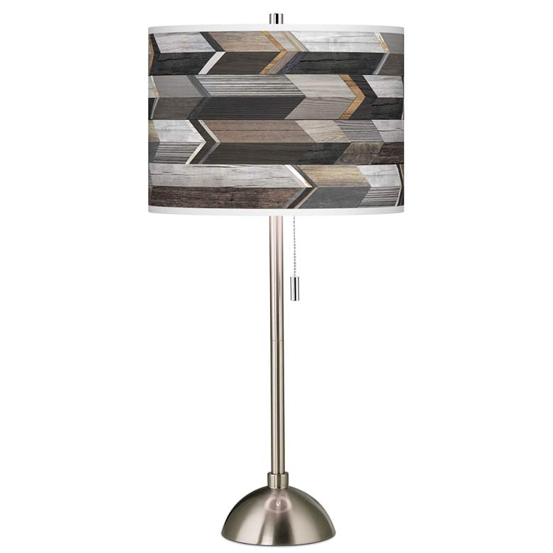 Woodwork Arrows Giclee Brushed Nickel Table Lamp
