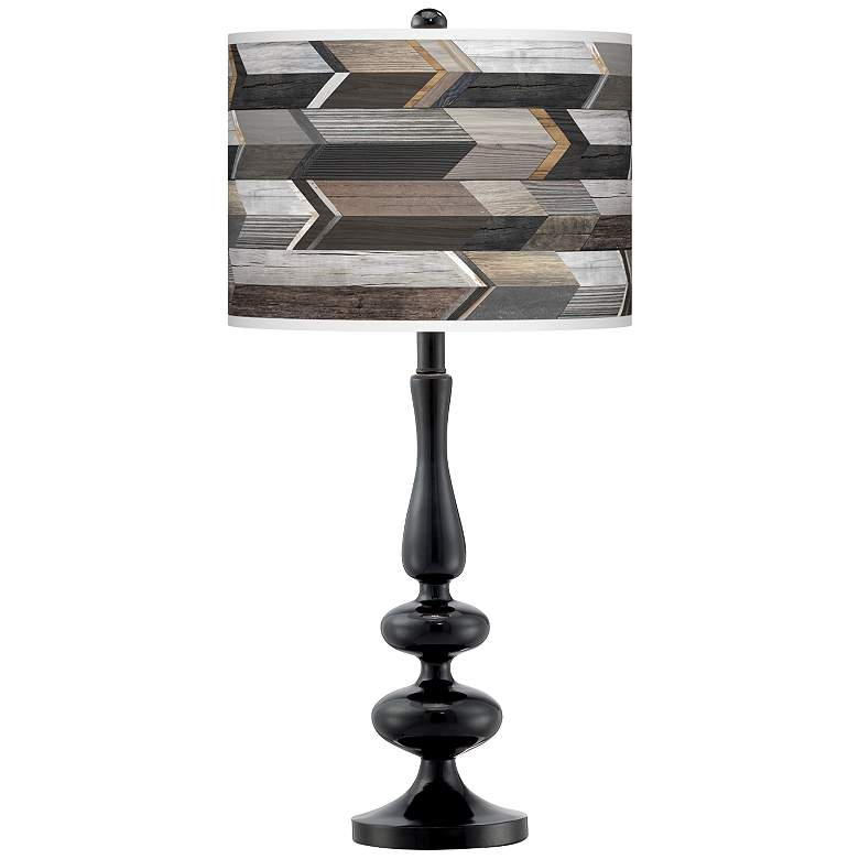 Woodwork Arrows Giclee Paley Black Table Lamp