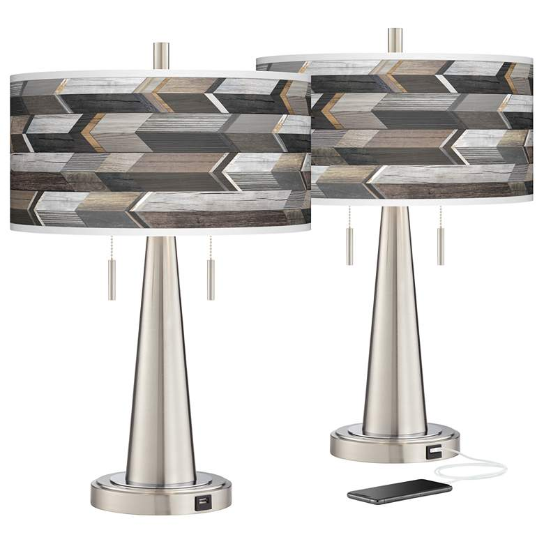 Woodwork Arrows Vicki Brushed Nickel USB Table Lamps Set of 2