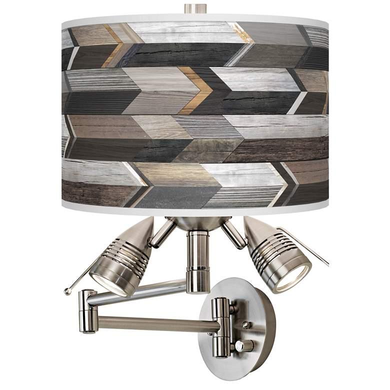 Woodwork Arrows Giclee Plug-In Swing Arm Wall Lamp