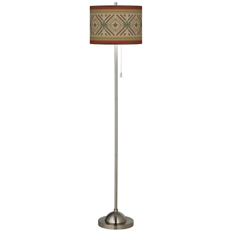 Desert Diamonds Brushed Nickel Pull Chain Floor Lamp