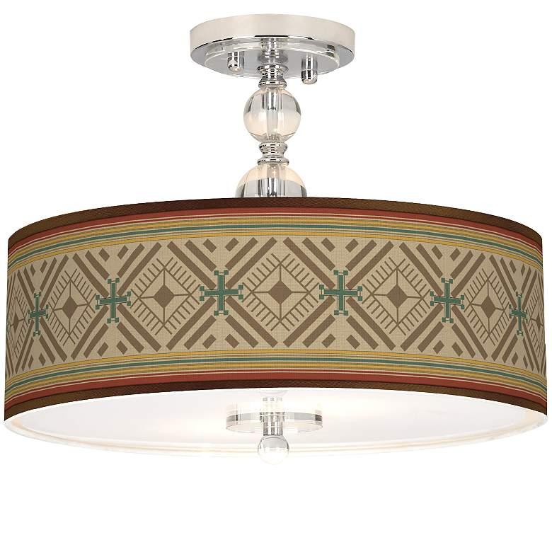 """Desert Diamonds Giclee 16"""" Wide Semi-Flush Ceiling Light"""