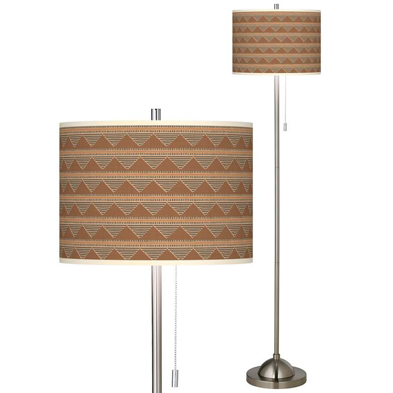 Desert Canyon Brushed Nickel Pull Chain Floor Lamp