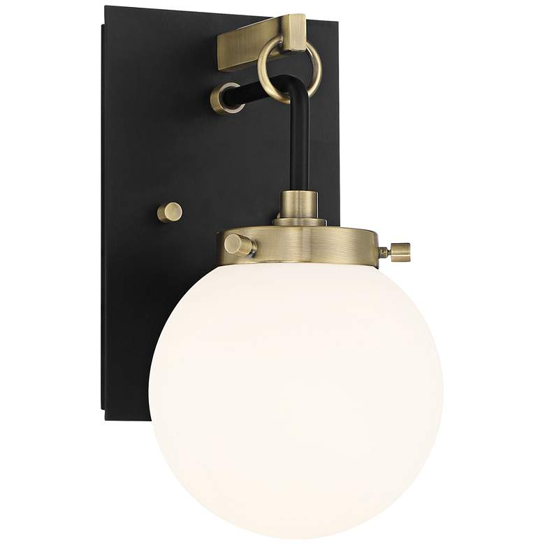 """Possini Euro Olean 11""""H Black and Antique Brass Wall Sconce"""
