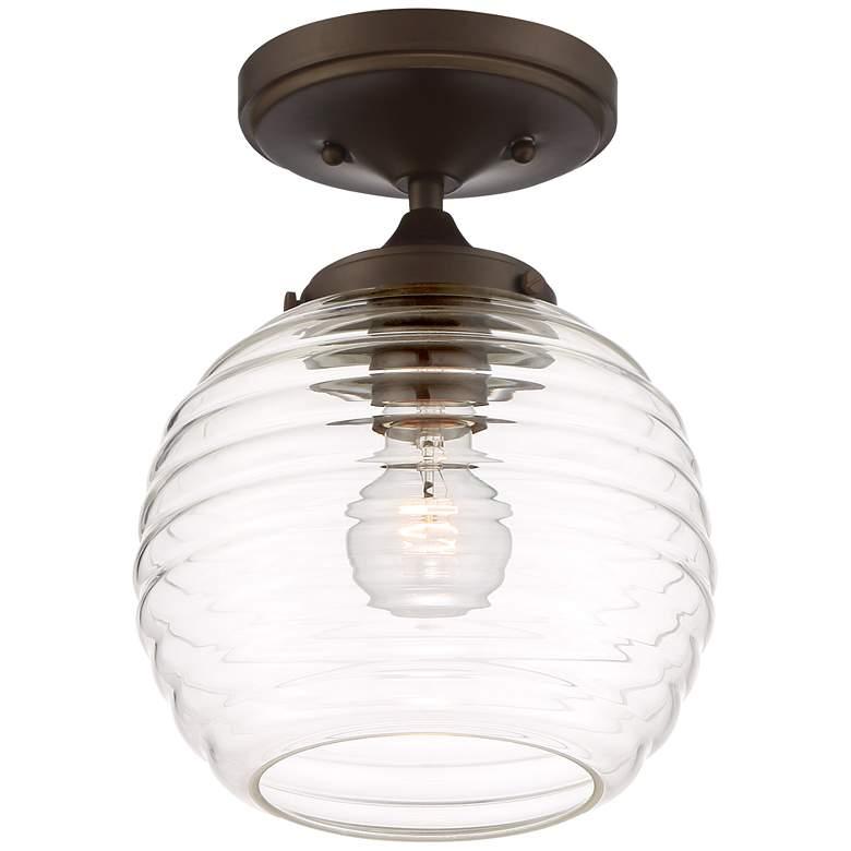 "Maja 8 1/4""W Honey Comb Ribbed Glass Bronze Ceiling Light"