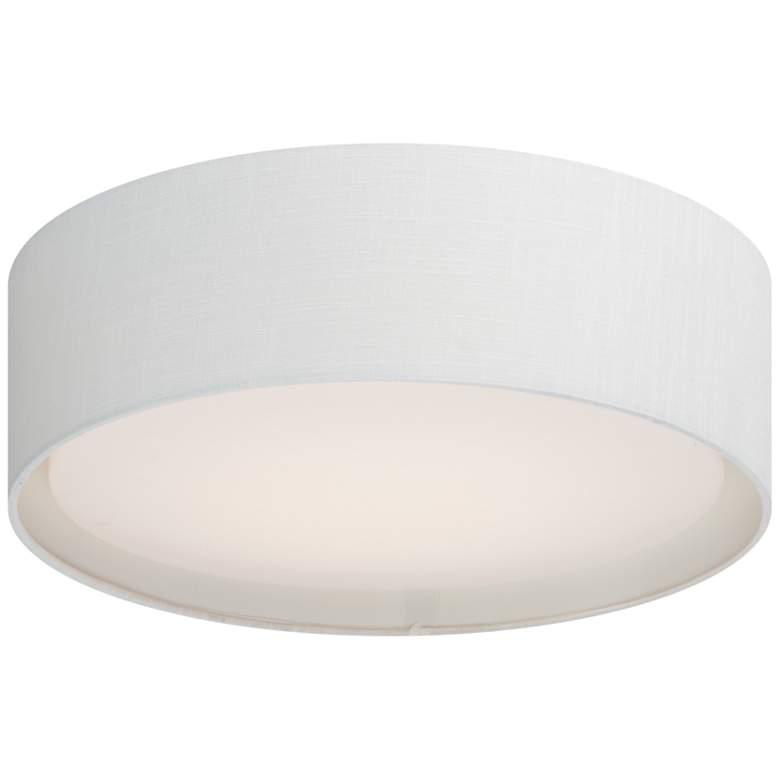 """Maxim Prime 16"""" Wide White Linen Drum LED Ceiling Light"""