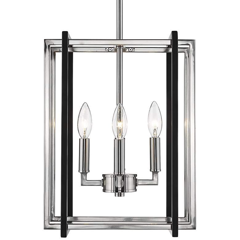 """Tribeca 12"""" Wide Pewter 4-Light Mini Foyer Pendant Light"""
