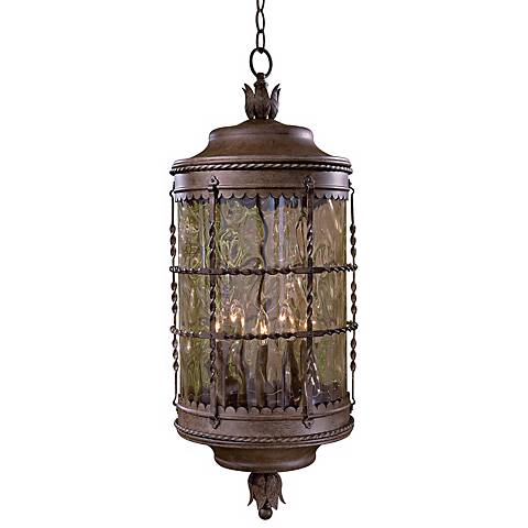 "Mallorca Vintage Rust 32"" High Chain Hung Outdoor Light"