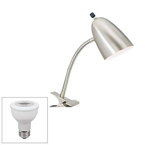 Brushed Steel Gooseneck Headboard LED Clip Lamp