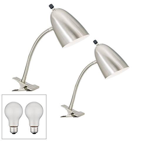 Set of 2 Silver Gooseneck Headboard Clip Lamps