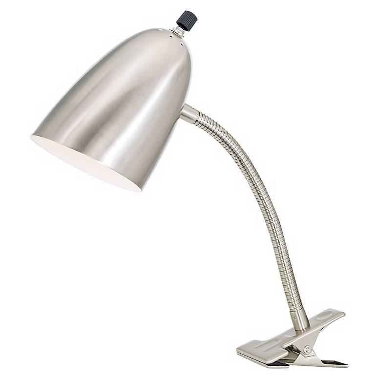 Brushed Nickel Gooseneck Headboard Clip Lamp