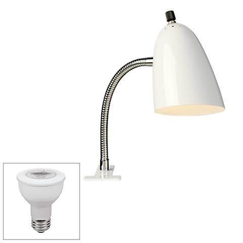 White Gooseneck Headboard LED Clip Lamp