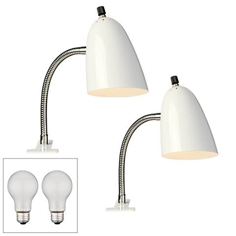 Set of 2 White Gooseneck Headboard Clip Lamps