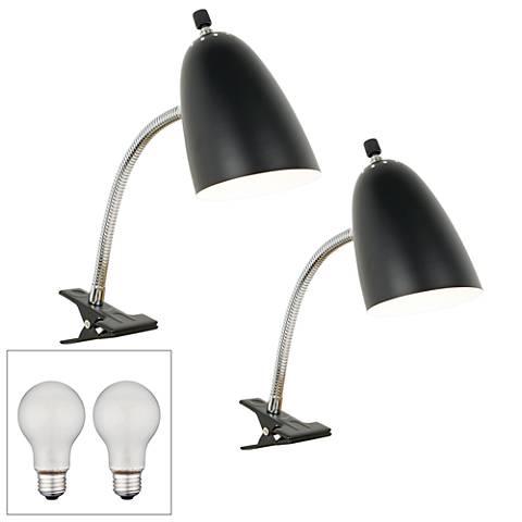 Set of 2 Black Gooseneck Headboard Clip Lamps