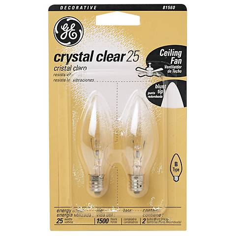 GE 2-Pack 25 Watt Blunt Tip Light Bulbs