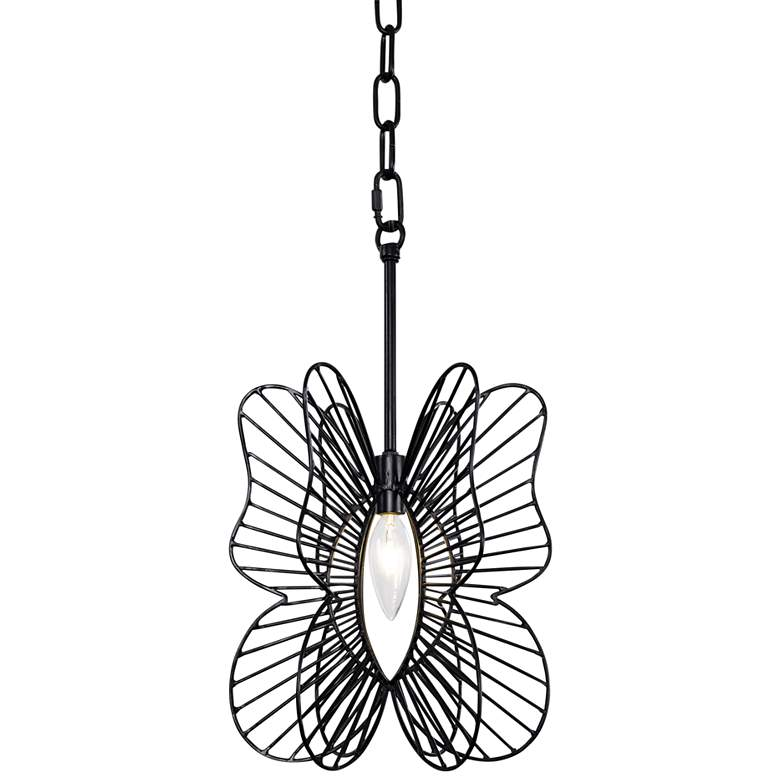 "Varaluz Monarch 9"" Wide Black Butterfly Mini Pendant Light"