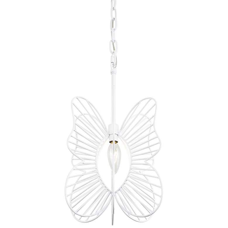 "Varaluz Monarch 9"" Wide White Butterfly Mini Pendant Light"