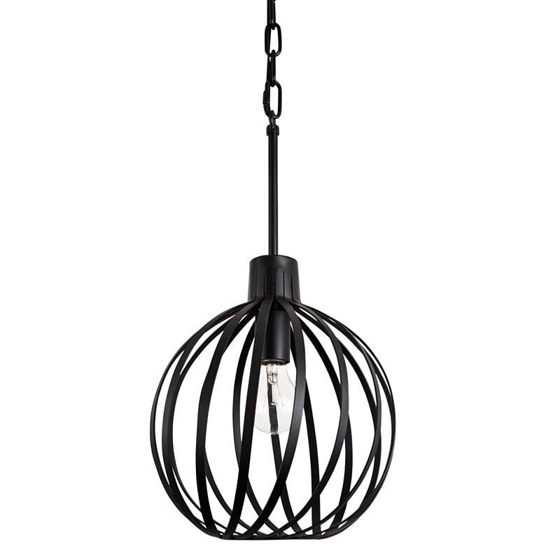 "Varaluz Bronwyn 10"" Wide Black Orb Mini Pendant Light"