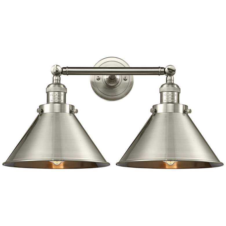 """Briarcliff 9""""H Satin Nickel 2-Light Adjustable Wall Sconce"""