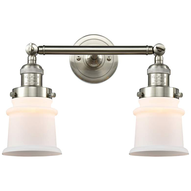 """Small Canton 11""""H Brushed Satin Nickel 2-Light Wall Sconce"""