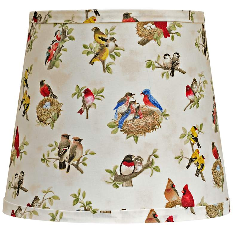 Beautiful Birds Linen Drum Lamp Shade 12x12x10 (Spider)