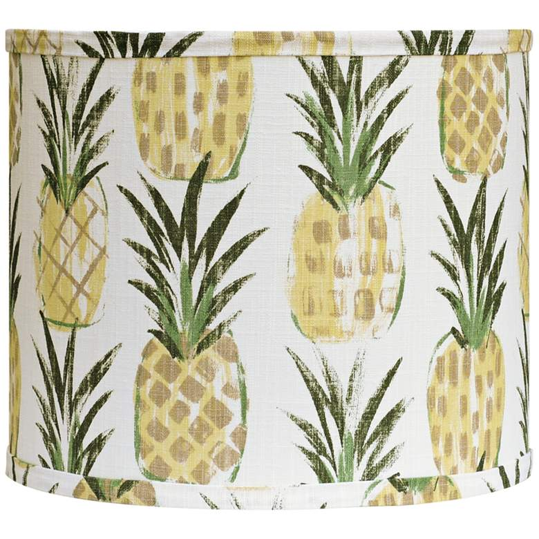 Pineapples Yellow - Green Drum Lamp Shade 14x14x11 (Spider)