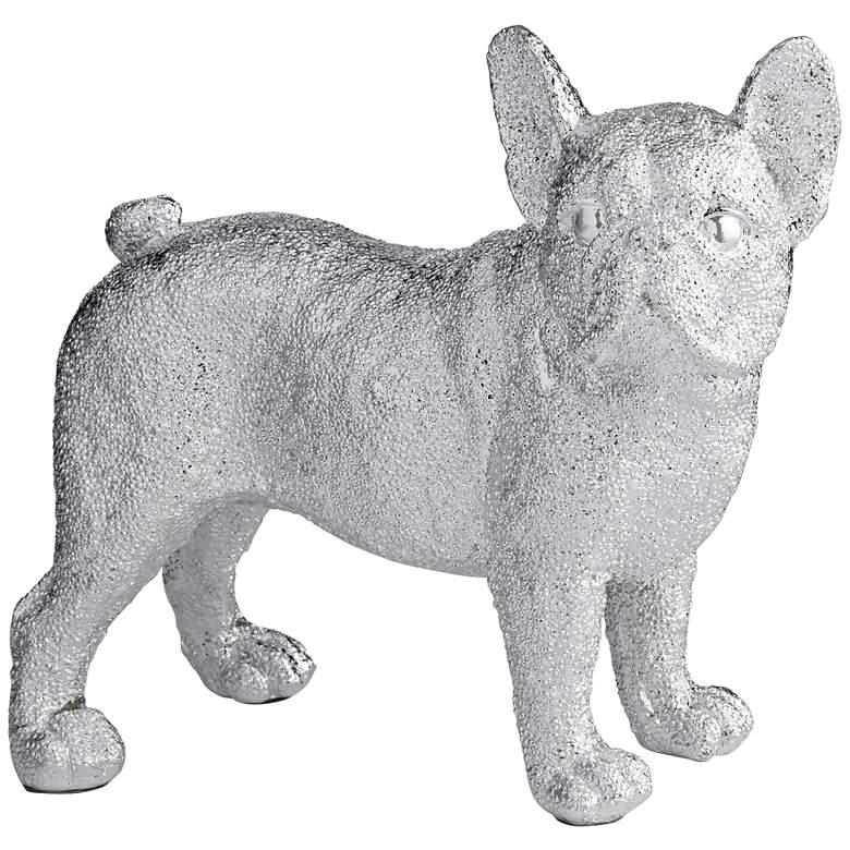 """Rover 8"""" High Electroplated Silver Bulldog Sculpture"""
