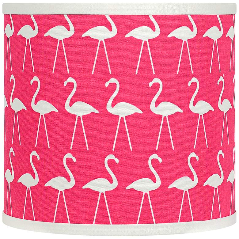 Flamingo Candy Pink and White Drum Lamp Shade