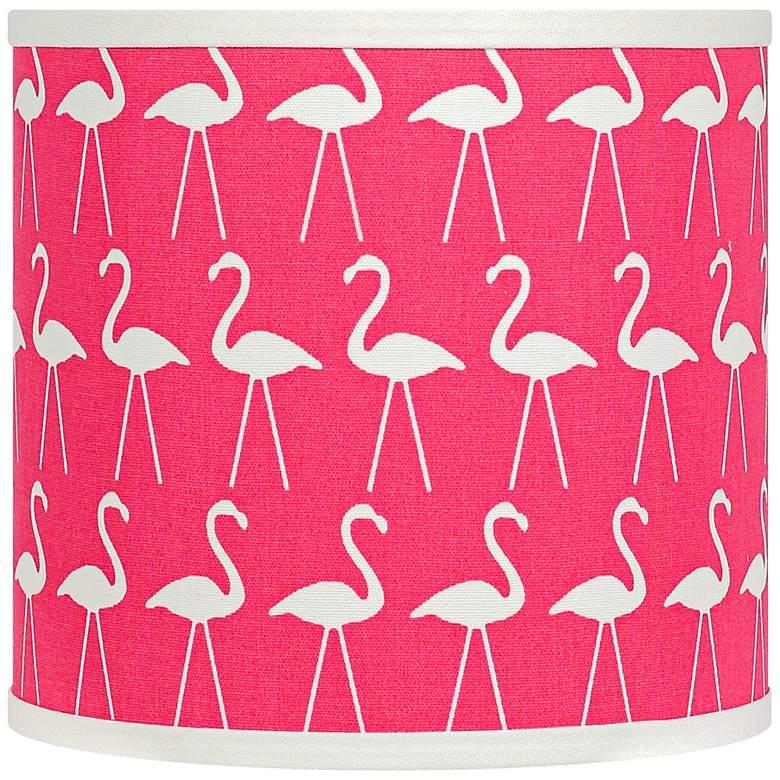 Flamingo Candy Pink - White Drum Shade 14x14x11