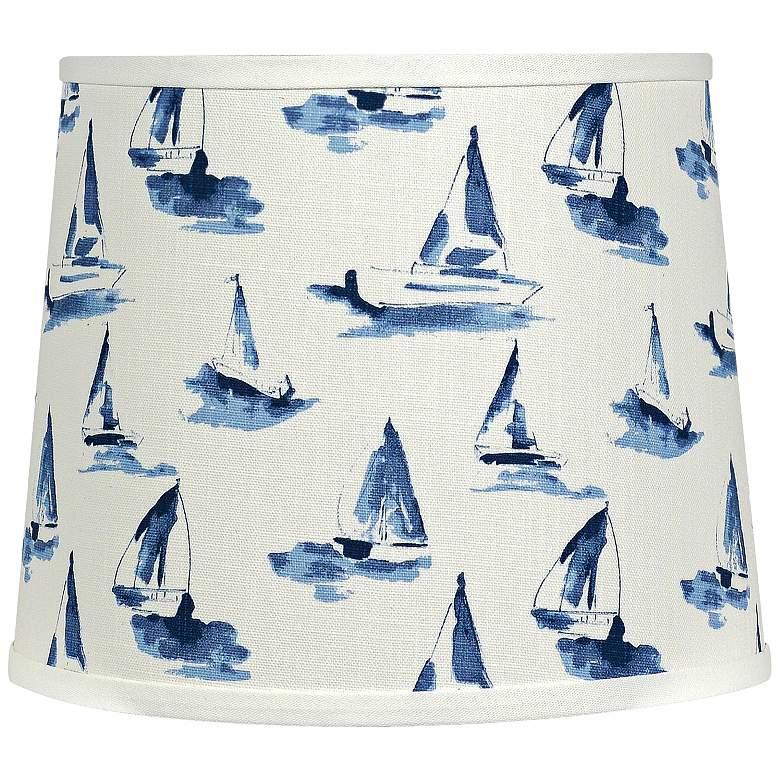 Sea View Sky Blue - White Drum Lamp