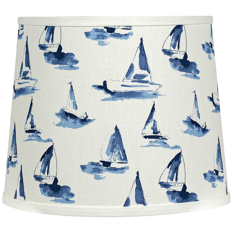 Sea View Sky Blue - White Drum Lamp Shade 14x16x13 (Spider)