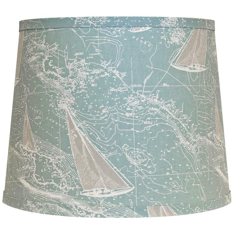 Sail Away Spa Blue Hardback Drum Lamp Shade 16x16x13 (Uno)