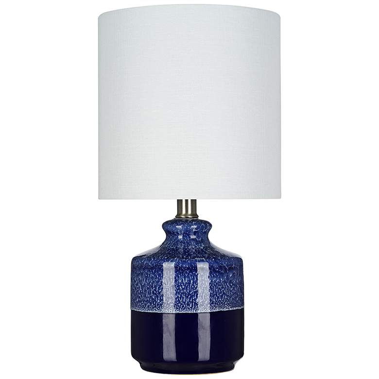 """Blue Ceramic 15"""" High LED Accent Table Lamp"""