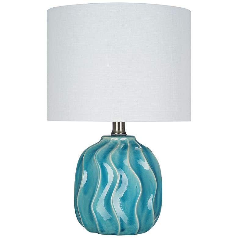 """Teal Blue Ceramic 15 1/4"""" High LED Accent Table Lamp"""