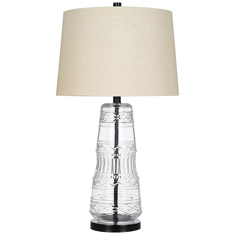 Textured Clear Glass and Bronze LED Table Lamp
