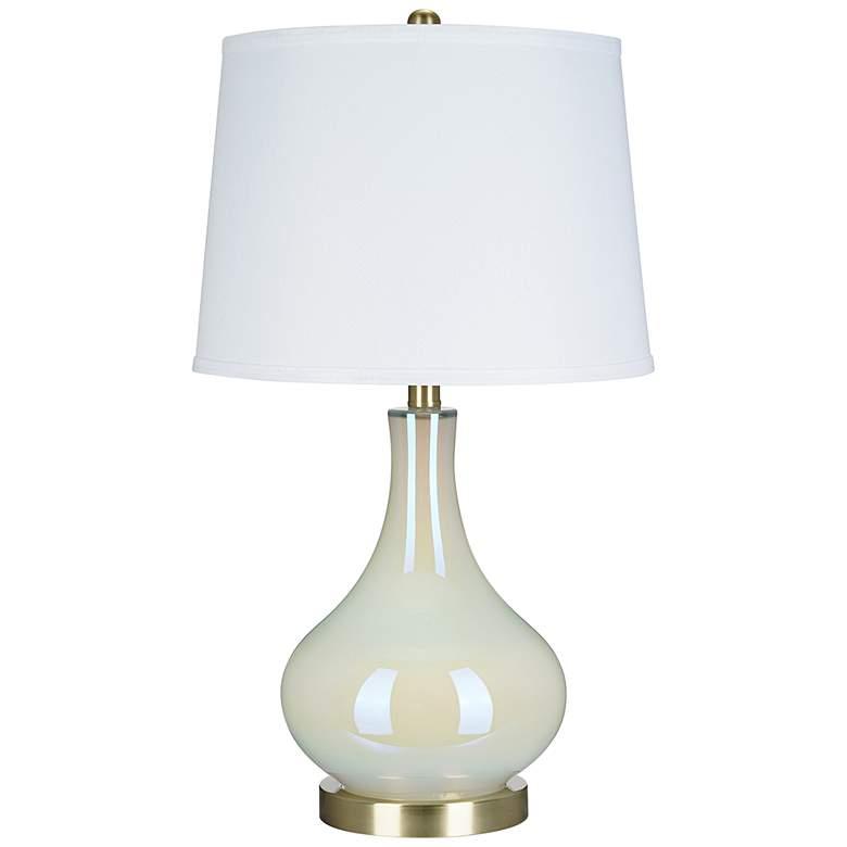 White Iridescent Glass Gourd LED Table Lamp