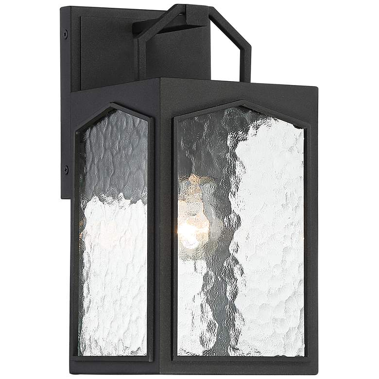 """Orli 12 1/2""""H Black and Water Glass Outdoor Wall Light"""